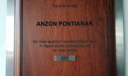 "Anzon Toyota Sabet ""TOYOTA NETWORK CERTIFICAION"" 2017"